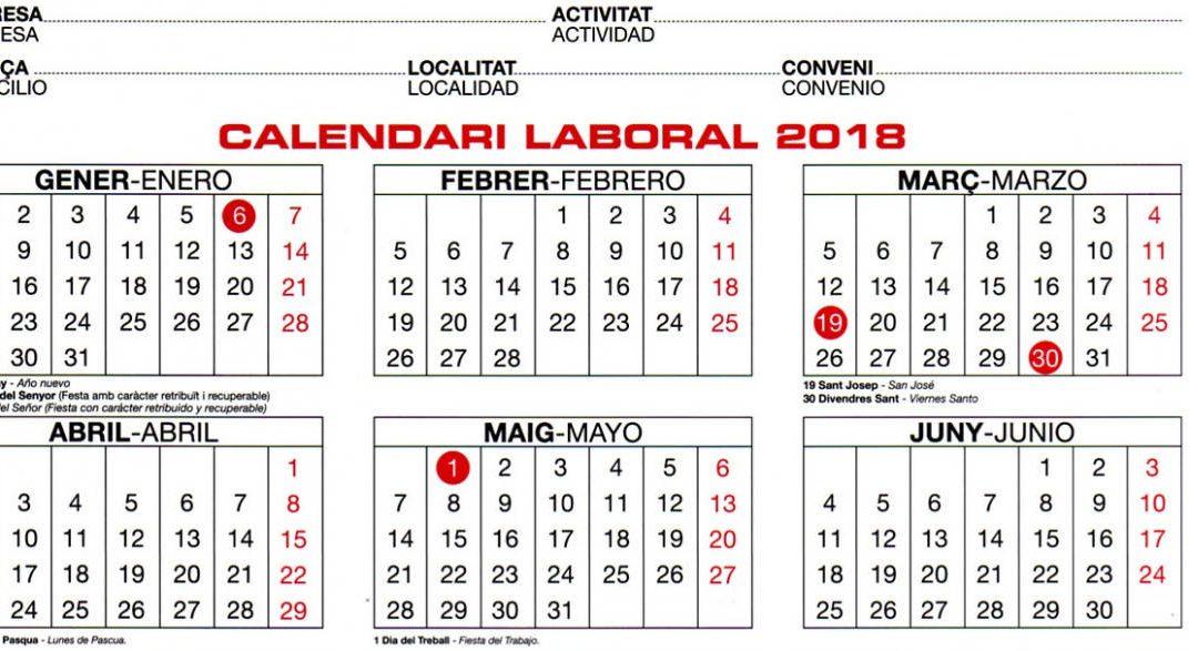 Calendario Laboral De Valencia.Calendario Laboral 2018 Valencia Josecarlosmora Com
